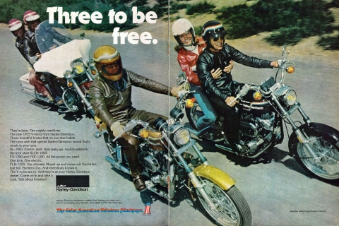 1975 Harley-Davidson magazine double page spread