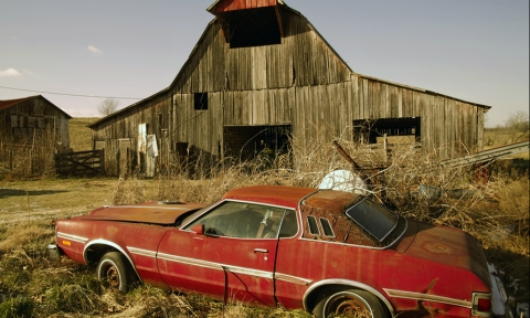 1970s Ford Thunderbird outside barn