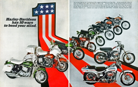 the 1970 Harley-Davidson full lineup magazine ad