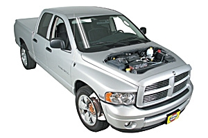 Opening the hood Dodge Ram 1500 2002 - 2008 Petrol 5.9 V8