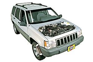 Auxiliary belt replacement Jeep Grand Cherokee 1993 - 2004 Petrol 5.9 V8
