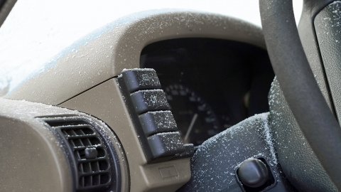 car interior with snow in it