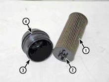 Oil filter details 3.6 liter V6 engine - 1) Filter element, 2) Filter clips, 3) Filter cap, 4) O-ring
