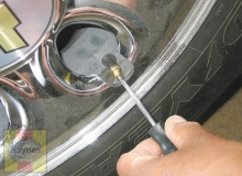 If a tire loses air on a steady basis, check the valve stem core first to make sure it's snug