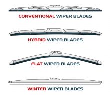 Various types of wiper blade