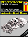 Mercedes-Benz Diesel 123 Series for 200D, 220D, 240D, 240TD, 300D, 300CD, 300TD models, designated W123 Series 4-cyl & 5-cyl inc. turbo-diesel (76-85) Haynes Repair Manual