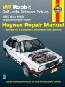 Volkswagen VW Rabbit gas powered (75-84), Rabbit Convertible (80-84), Golf (85-92), Jetta Gas Powered (80-92), Scirocco (75-88), Cabriolet (85-92) & Pick-up Gas powered (80-83) Haynes Repair Manual
