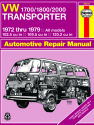 Volkswagen VW 1700/1800/2000 Transporter (72-79) models with 102.5 cu in, 109.5 cu in & 120.2 cu in engines Haynes Repair Manual