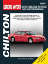 General Motors Century/Lumina/Grand Prix/Intrigue Chilton Repair Manual for 1997-00 covering all models of Buick Century and Regal, Chevrolet Lumina and Monte Carlo, Oldsmobile Cutlass Supreme and Intrigue, Pontiac Grand Prix