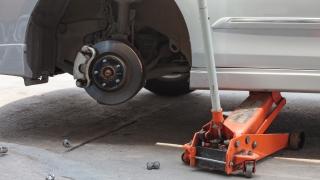 Car on Jack Front Brake Rotor