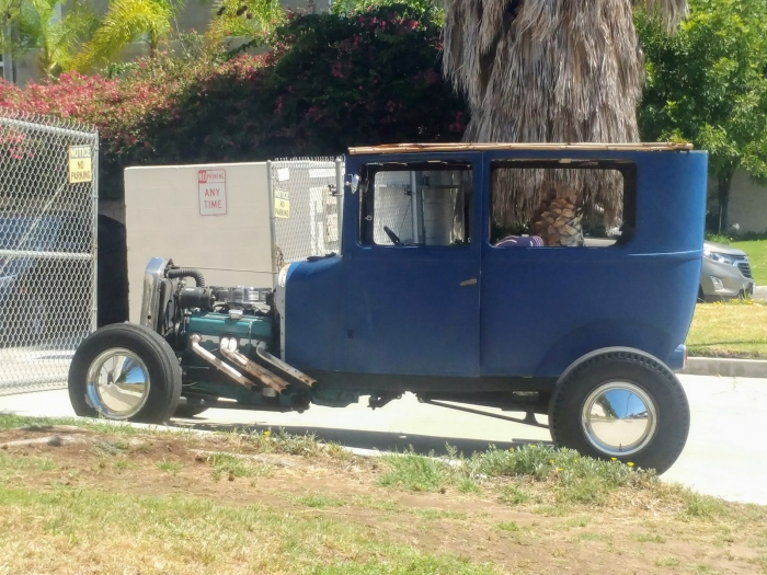 The upright nature of the original Model T body really sticks out on a hot rod.