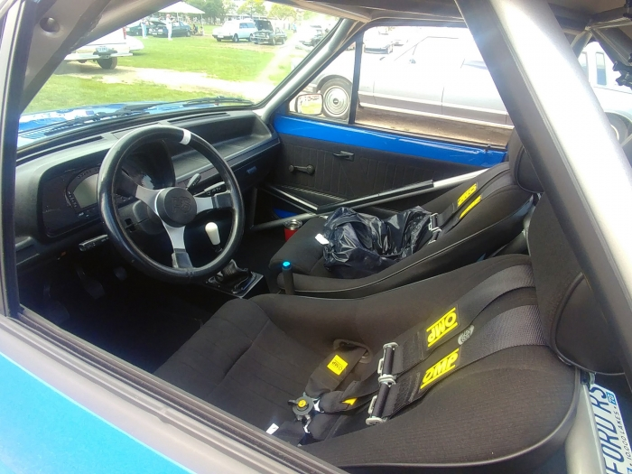 Interior of this Starlet is all business and meant for track days