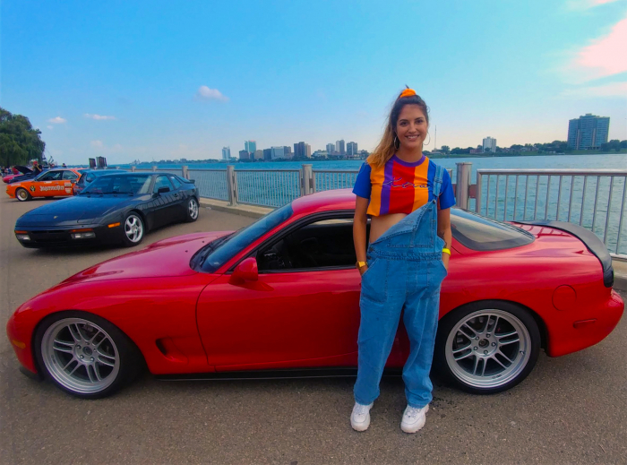 Last gen. Mazda RX-7 pairs with a girl straight out of Saved By the Bell