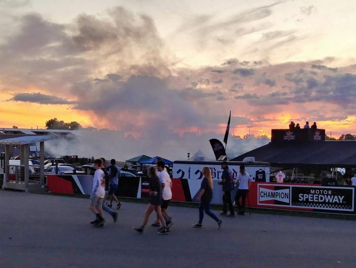 Dramatic sunset with added tire smoke