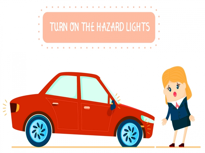 Turn hazard lights on for safety