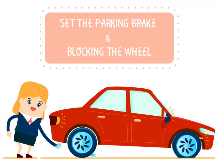 Block wheels and apply brake to prevent rolling
