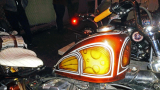 Old school custom paint job with flake, bubbles, and panels on a Sportster chopper