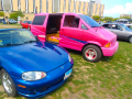 Bright colors and a custom paint job attempt to make a minivan cooler