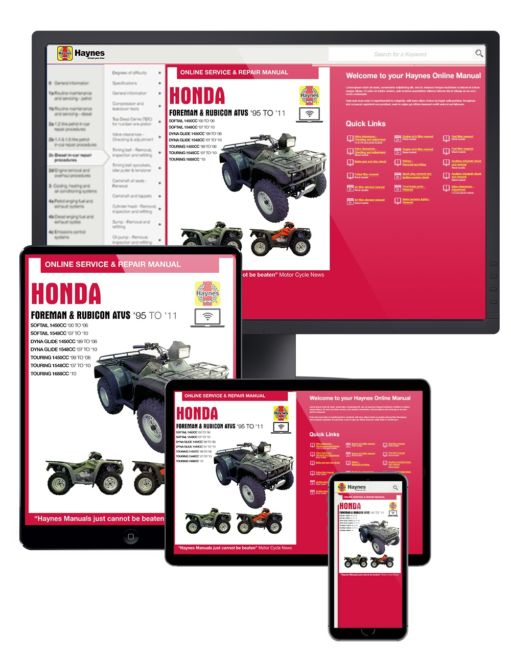 Manual cover for Honda Foreman & Rubicon ATVs Haynes Online Manual covering Foreman 400 (1995 thru 2003), Foreman 450 (1998 thru 2004), and Rubicon 500 (01-11)