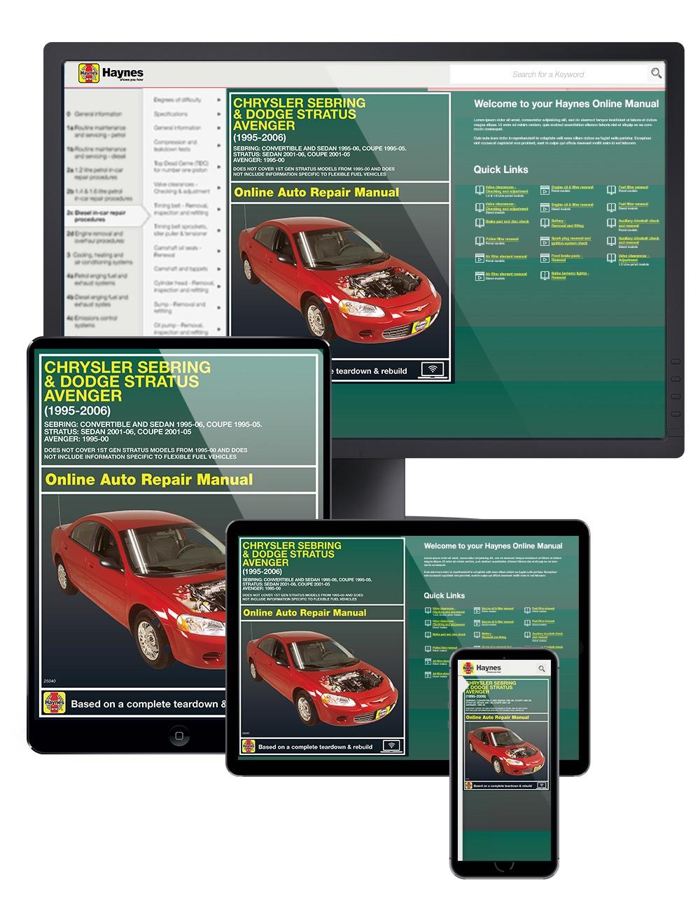 Manual cover for Chrysler Sebring & Dodge Stratus & Avenger (95-06) Haynes Online Manual