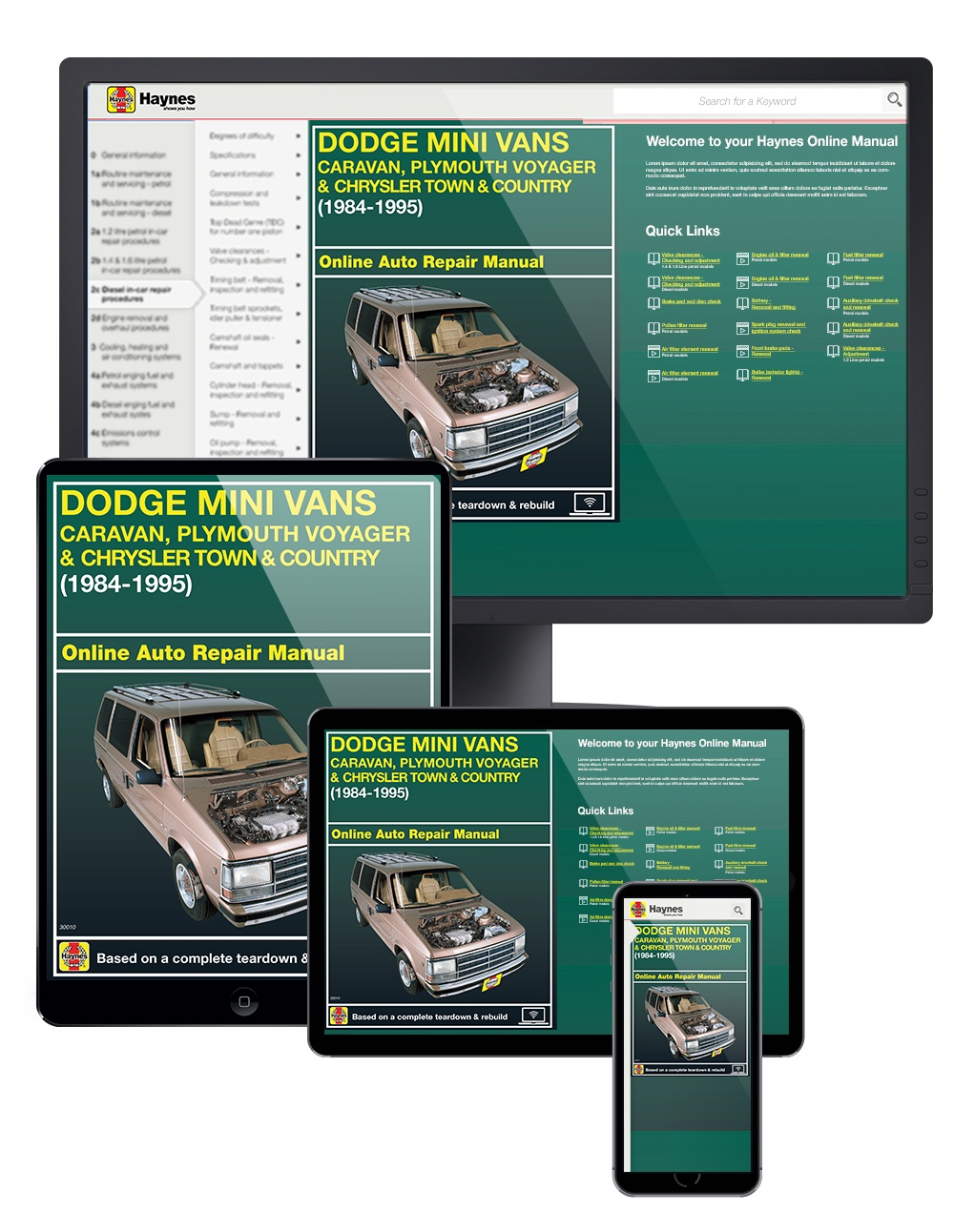 Manual cover for Dodge Caravan, Plymouth Voyager & Chrysler Town & Country (84-95) Haynes Online Manual