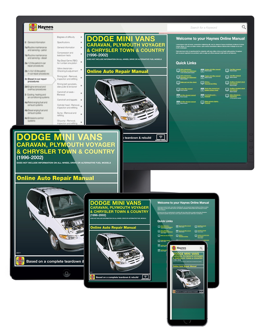 Manual cover for Dodge Caravan/Grand Caravan, Chrysler Grand Voyager 1996-2002 Haynes Online Manual