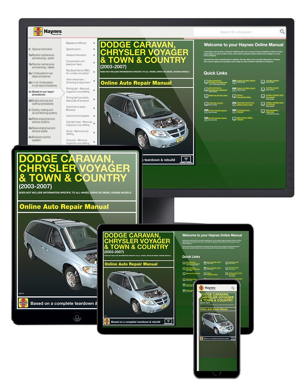 Manual cover for Dodge Caravan, Chrysler Voyager & Town & Country (03-07) Haynes Online Manual