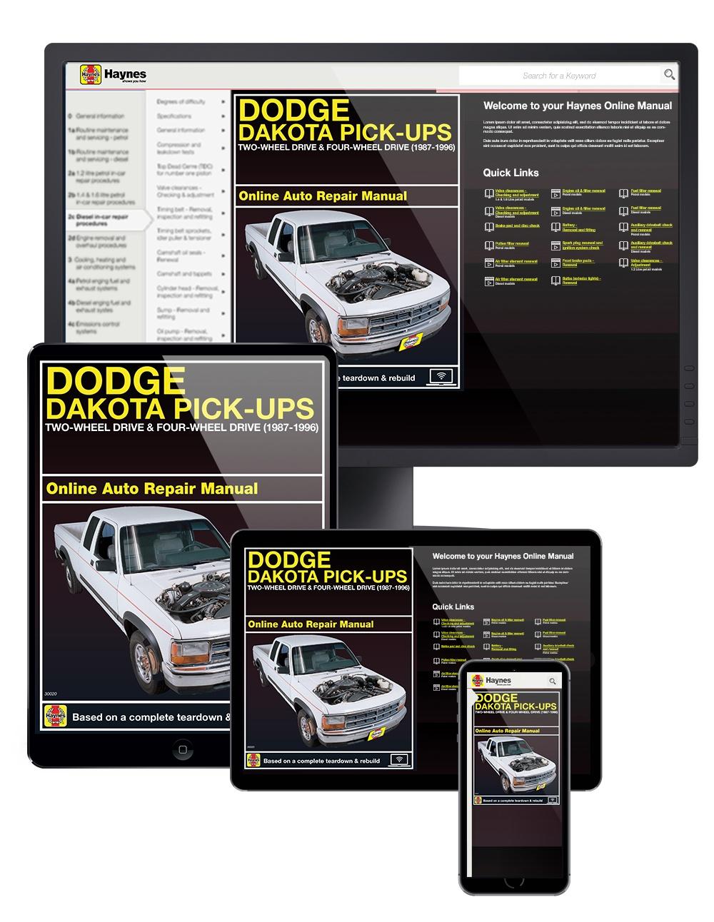 Manual cover for Dodge Dakota Pick-ups (87-96) Haynes Online Manual