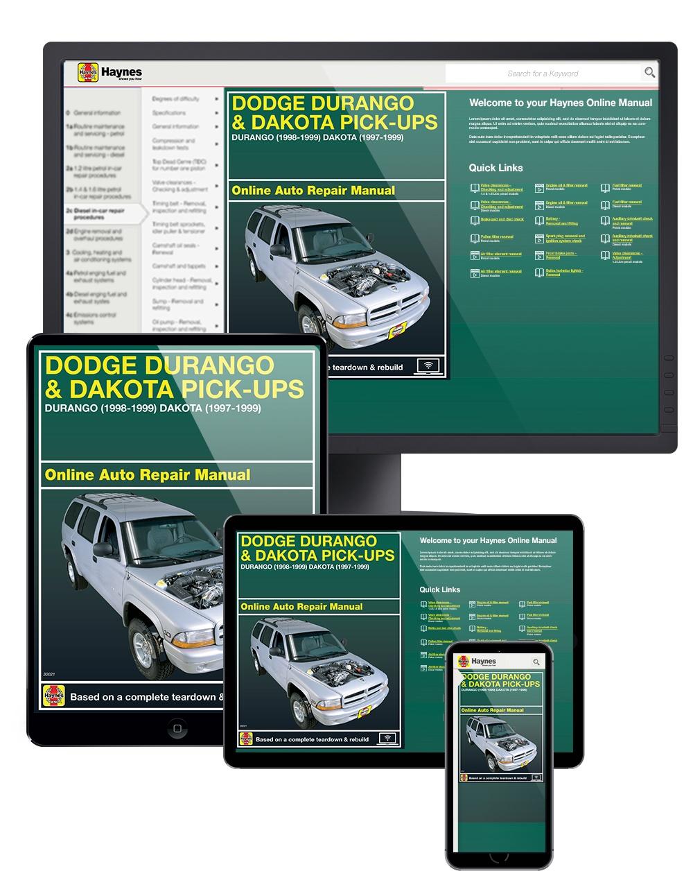 Manual cover for Dodge Durango (98-99) & Dodge Dakota (97-99) Haynes Online Manual