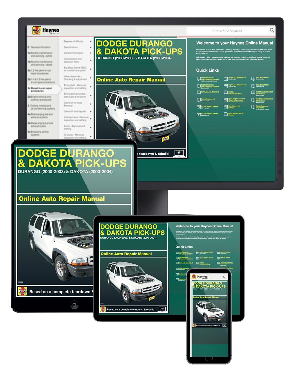 Manual cover for Dodge Durango (00-03) and Dodge Dakota (00-04) Haynes Online Manual