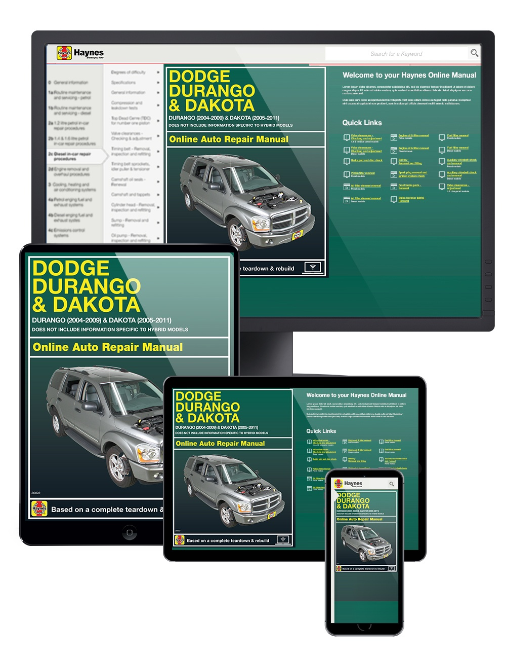 Manual cover for Dodge Durango (04-09) and Dodge Dakota (05-11) Haynes Online Manual