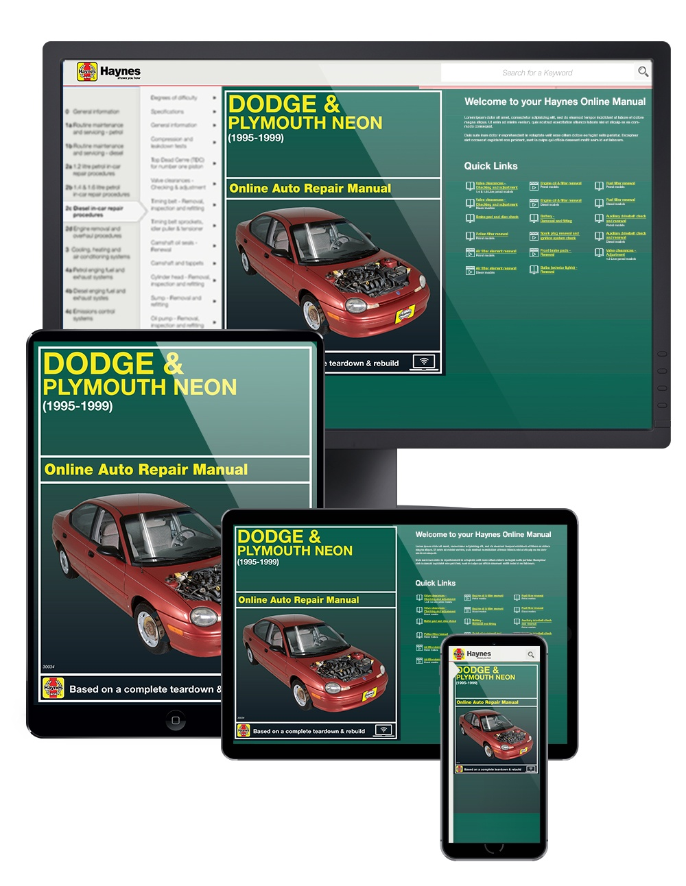 Manual cover for Dodge and Plymouth Neon (95-99) Haynes Online Manual