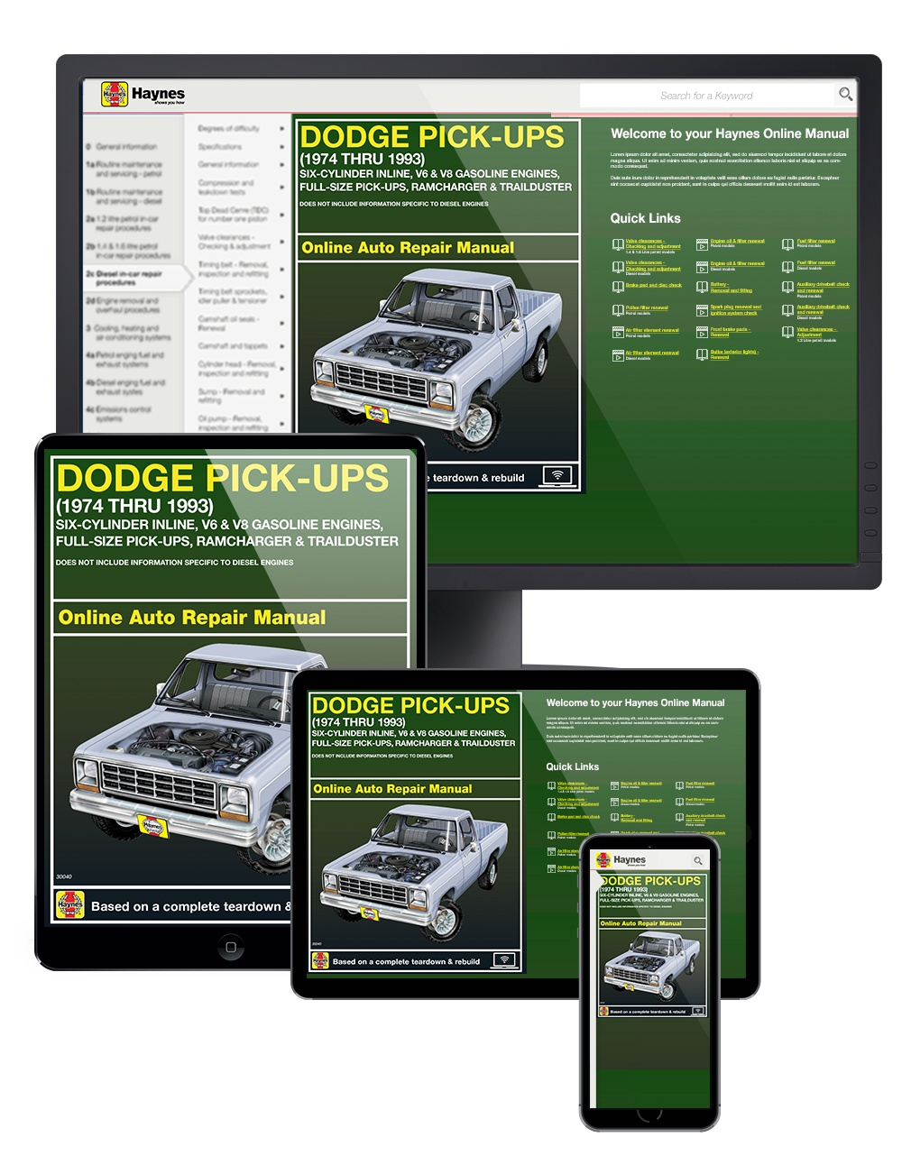 Manual cover for Dodge Full-size Pick-ups covering Ramcharger and Trailduster (74-93) Haynes Online Manual