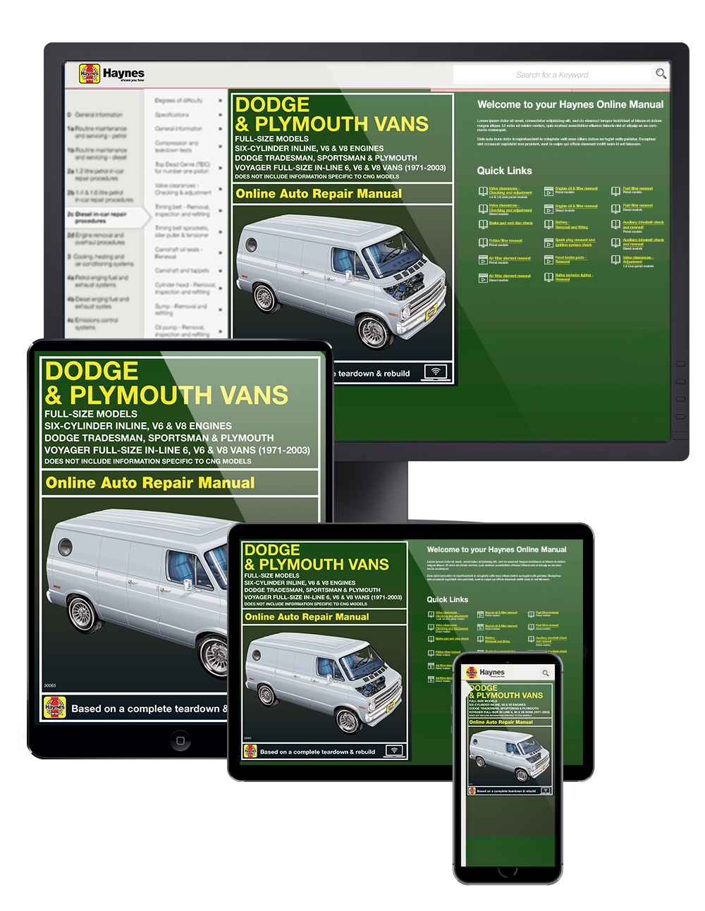 Manual cover for Dodge and Plymouth Full-size Vans covering Tradesman, Sportsman and Plymouth Voyager Vans with In-line 6, V6 and V8 engines (71-03) Haynes Online Manual