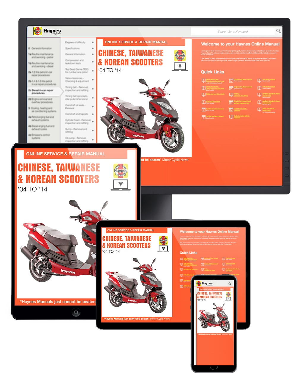 Manual cover for Chinese, Taiwanese & Korean Scooters 50cc, 125cc and 150cc (2004-2014) Haynes Online Manual