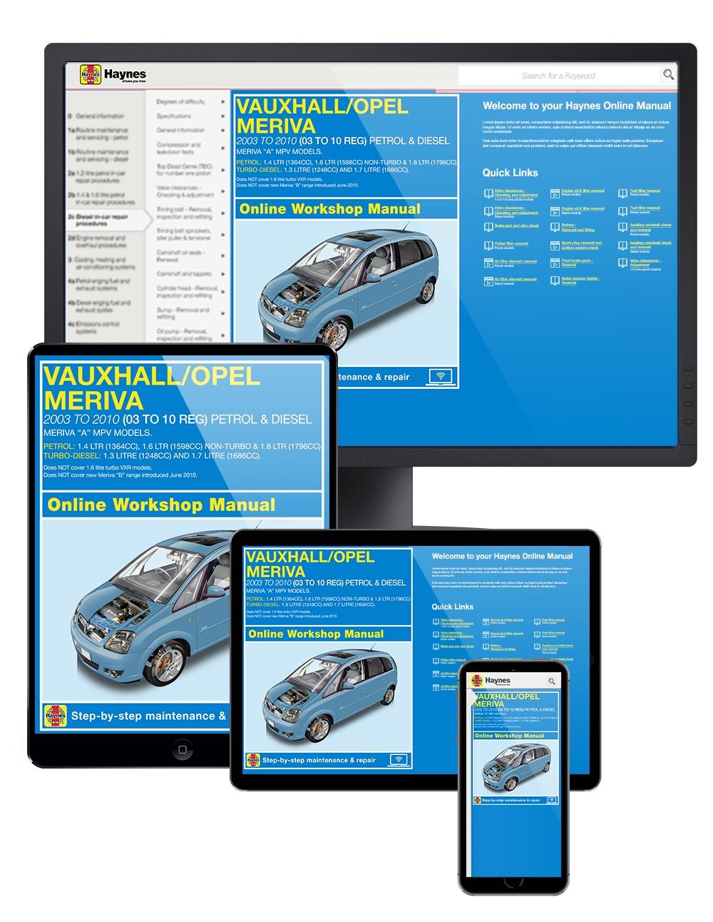Manual cover for Vauxhall/Opel Meriva Petrol & Diesel (2003-May 2010) 03 to 10 Haynes Online Manual