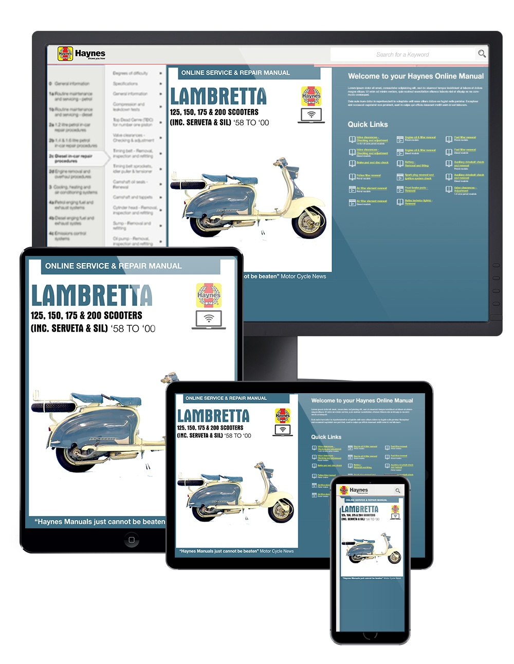 Manual cover for Lambretta Scooters (1958-2000) Haynes Online Manual