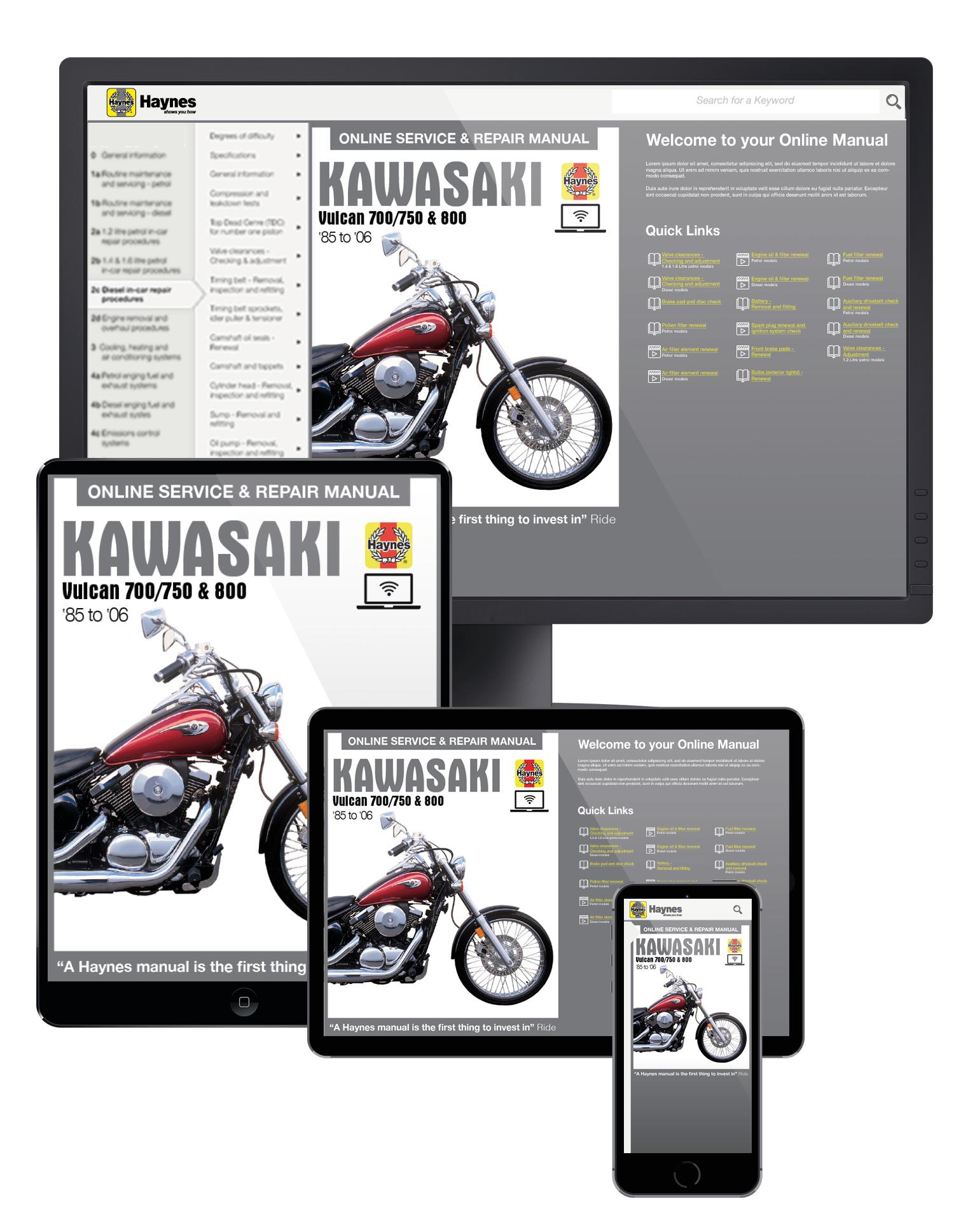 Manual cover for Kawasaki Vulcan 700 (1985), Vulcan 750 (85-06), Vulcan 800 (95-05), Vulcan 800 Classic (96-02) & Vulcan 800 Drifter (99-06) Haynes Online Manual