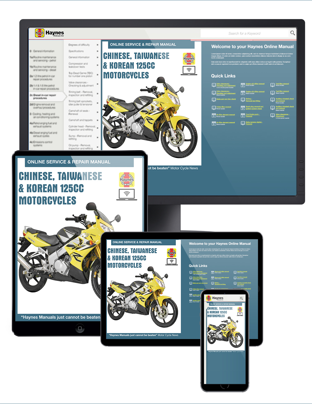 Manual cover for Chinese, Taiwanese & Korean 125cc Motorcycles Haynes Online Manual