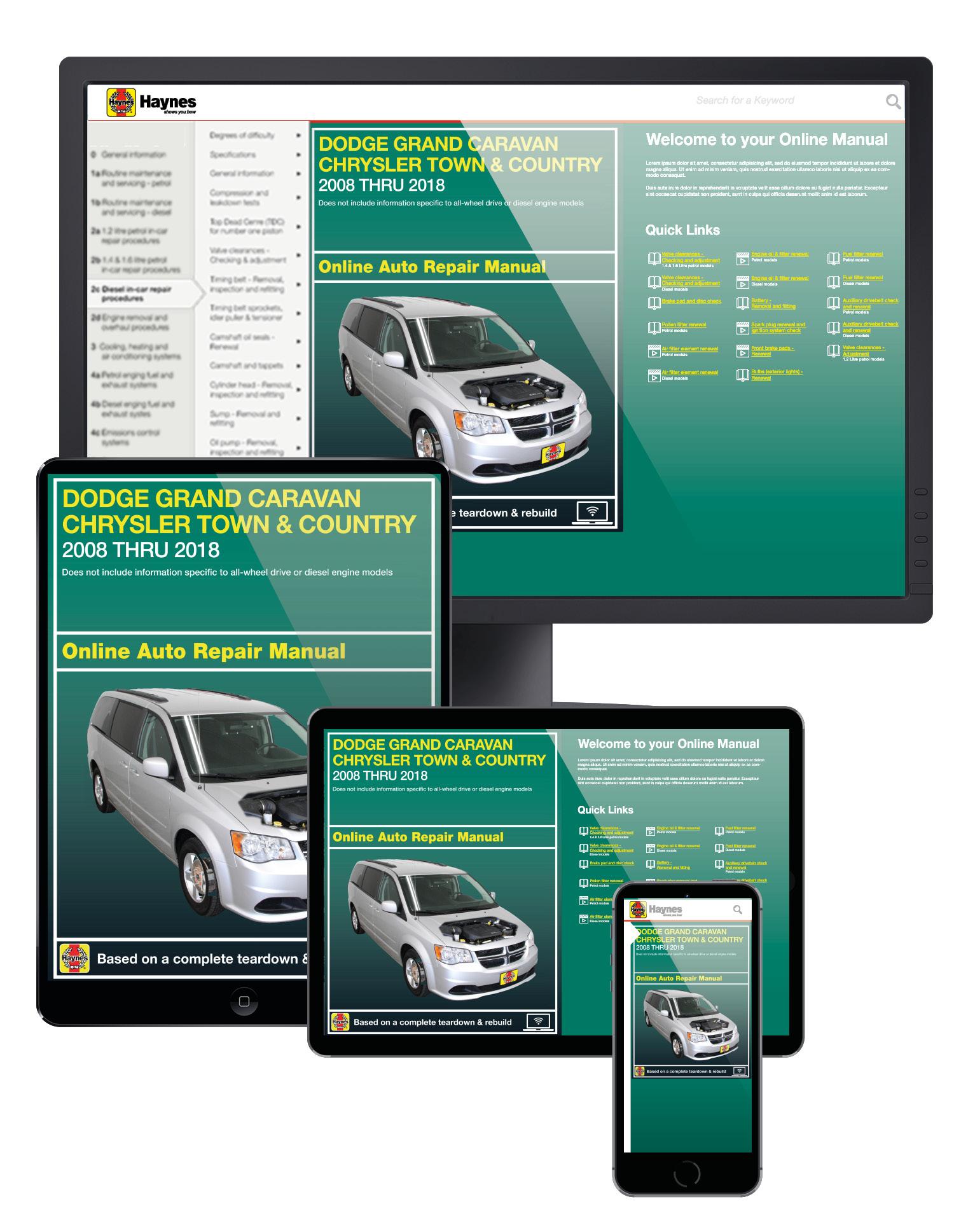Manual cover for Dodge Grand Caravan, Caravan Cargo & Chrysler Town & Country (08-18) Haynes Online Manual