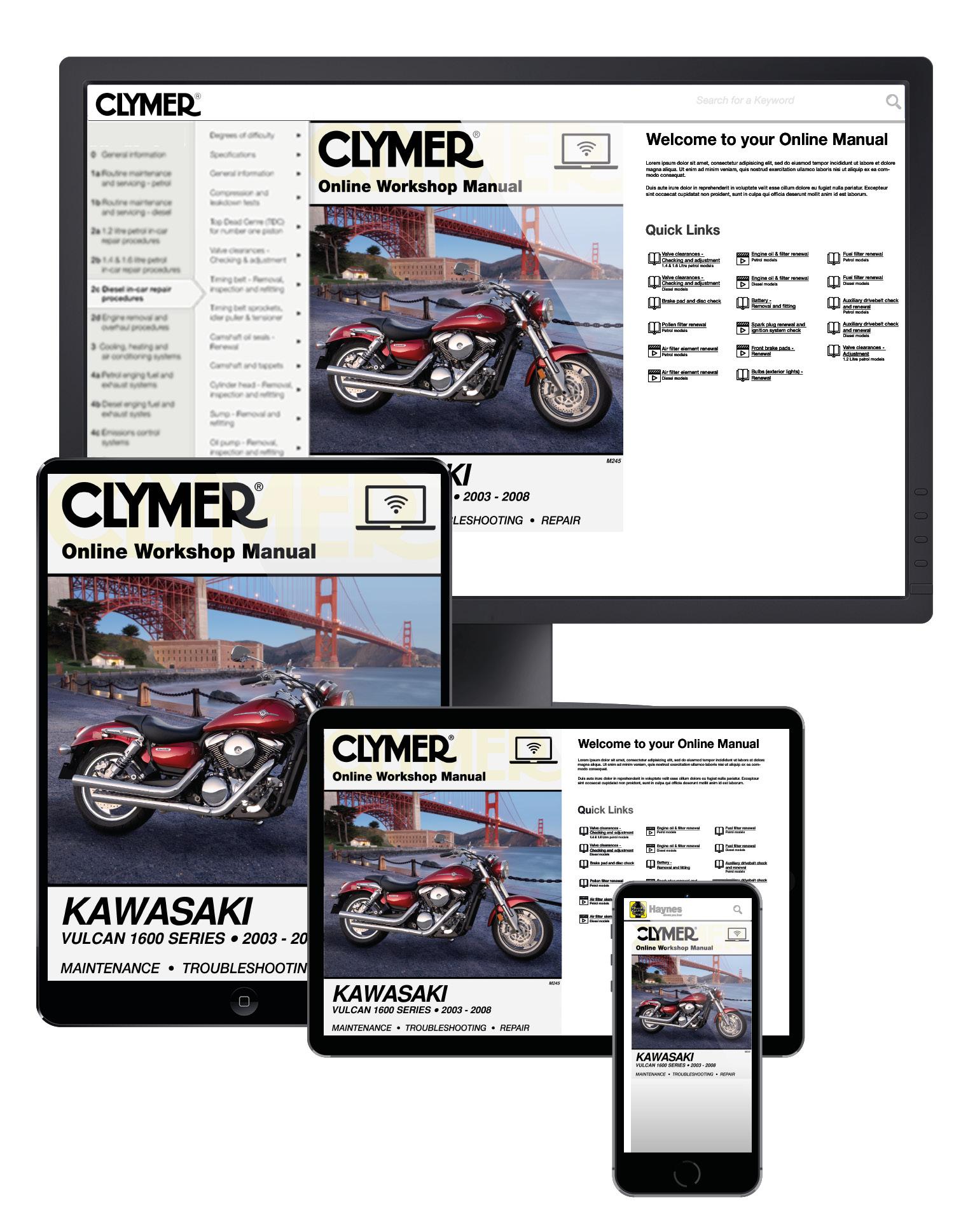 Manual cover for Kawasaki Vulcan 1600 Series Motorcycle (2003-2008) Service Repair Manual Online Manual