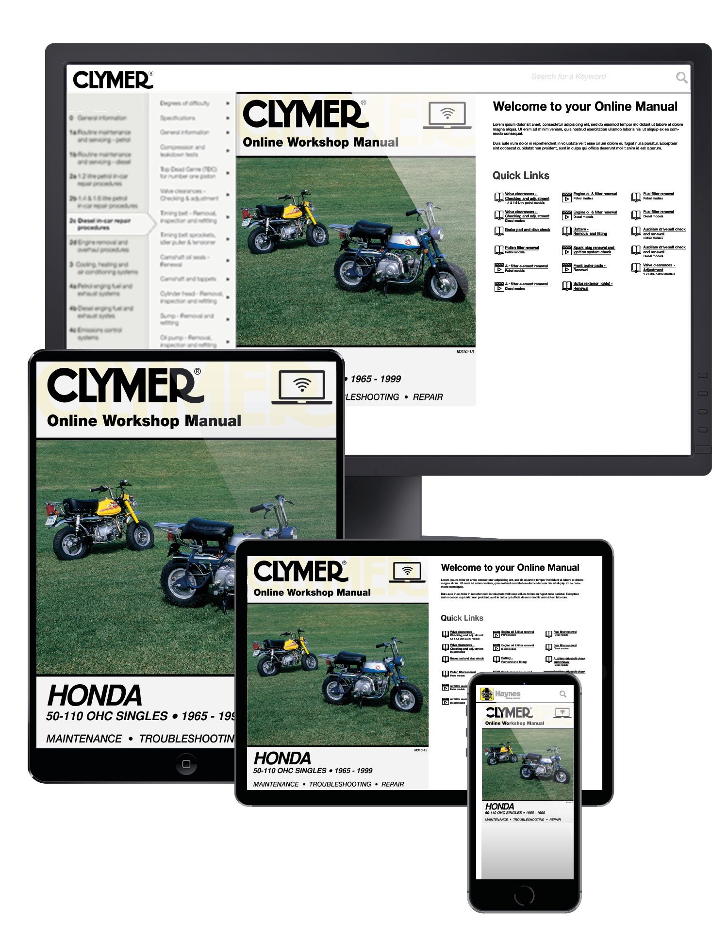 Manual cover for Honda 50-110cc, OHC Singles Motorcycle (1965-1999) Clymer Online Manual