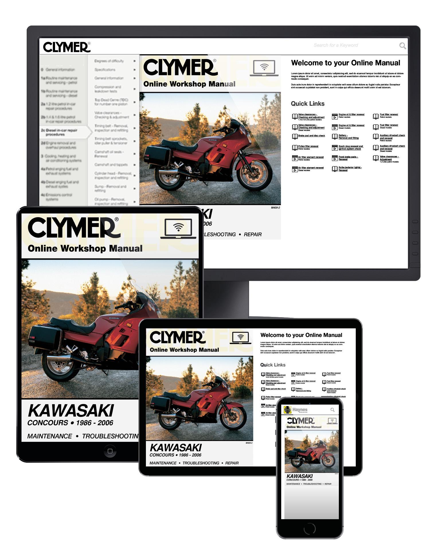 Manual cover for Kawasaki ZG1000 Concours Motorcycle (1986-2006) Service Repair Manual Online Manual