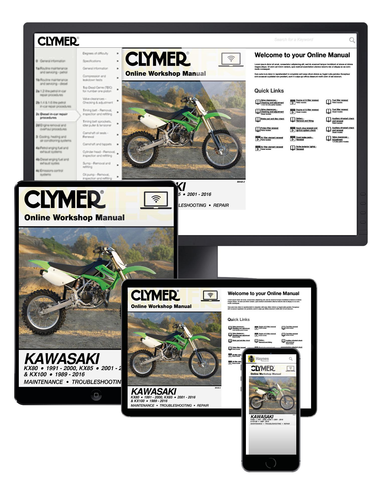 Manual cover for Kawasaki KX80 (1991-2000), KX85/85-II (2001-2016) & KX100 (1989-2016) Service Repair Manual Online Manual