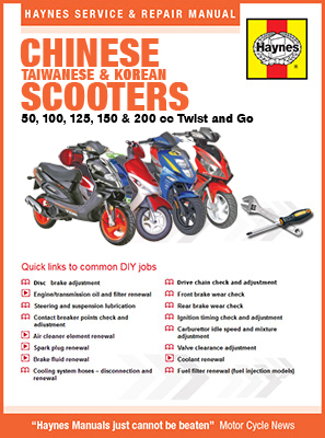 Manual cover for Chinese, Taiwanese & Korean Scooters 50cc, 125cc and 150cc (04-14) Haynes Online Manual